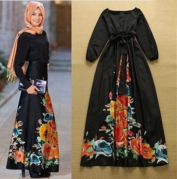 78fea8311ca New 2015 Women Summer Style Black Maxi Dress Long Sleeve O-neck Vintage  Flower Print Long Dress boho vestidos