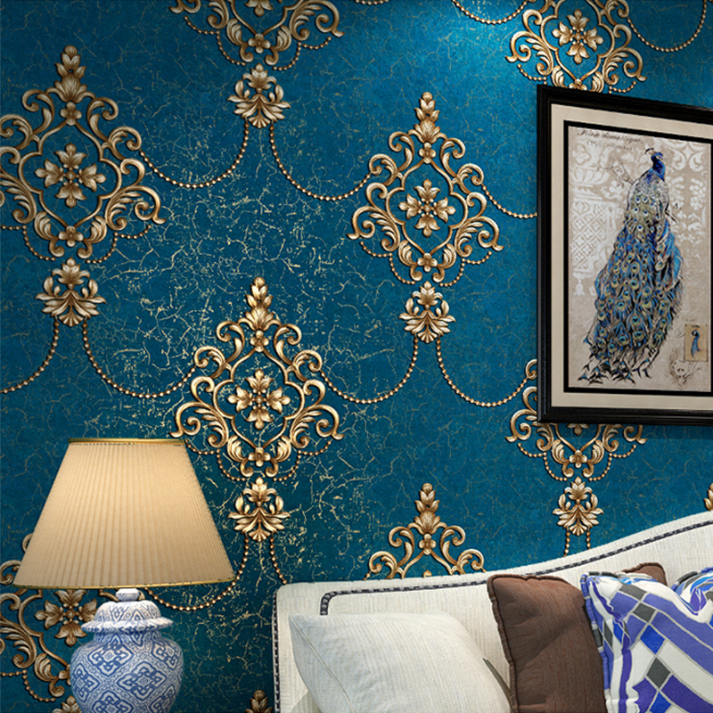 European Style Luxury Damask Wallpaper Roll 3D Embossed Non-woven Thickened Paper Wall Decor Wallpapers For Living Room Bed Room blue european style 3d stereoscopic relief damask tv background wall paper flower luxury bedroom living room non woven wallpaper