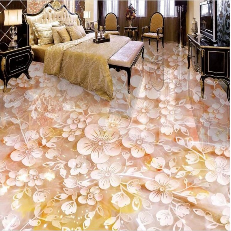 beibehang Custom flooring three-dimensional plum jade carving 3D floor tiles tile painting to paint pvc thick wear-resistant beibehang walking cloud 3d floor tile tile customization large fresco pvc thick wear resistant floor cover papel de parede