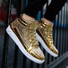 DROPSHIPPING. exclusivo. Tendencia hombres botas Martin botas de moda de oro de plata de los hombres transpirables zapatos planos zapatos creativo reflectante club nocturno zapatos modelo