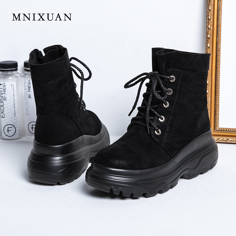 MNIXUAN Handmade ladies boots for winter ankle short martin boots 2018 new round toe lace up platform women shoes big size 34-43 enmayer hot new fashion round toe lace up flat ankle snow boots for women winter boots shoes large size 34 43 platform shoes