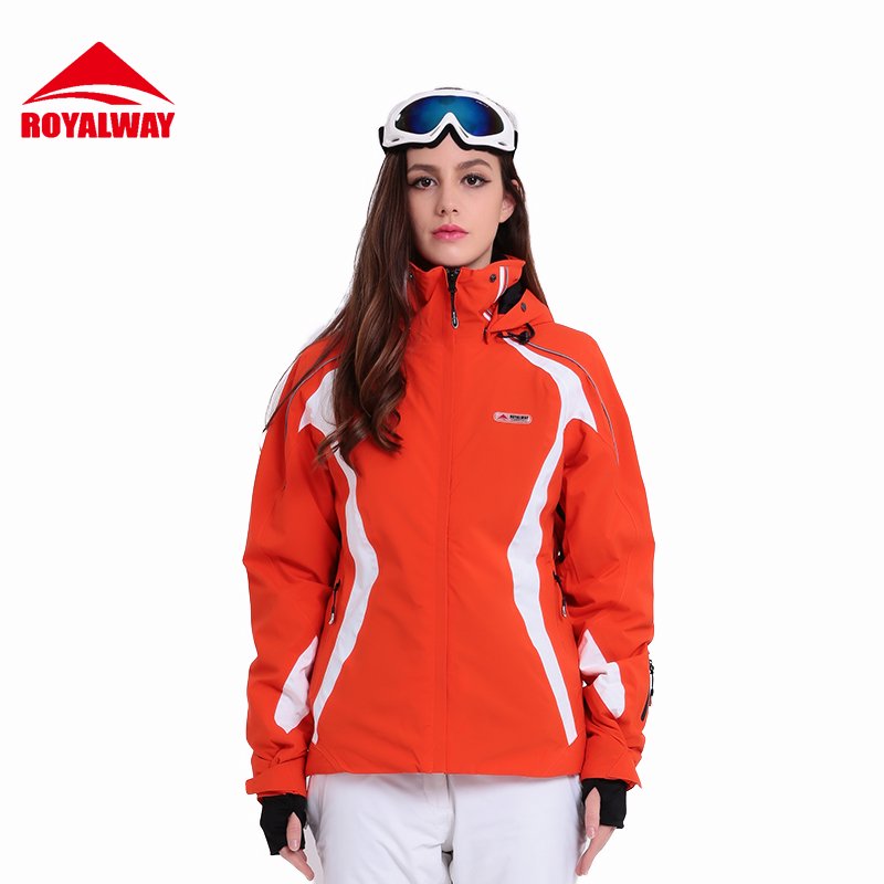 ROYALWAY Women Skiing Jacket Snowboard For Women Ski Clothes Red White Purple Windproof Breathable Outdoor Jackets# RFSL4519G ...