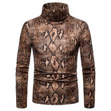 Fashion Stylist Style men's Turtleneck snake pattern long sleeve sweater casual keep warm pullovers High Street Hip hop sweater(China)