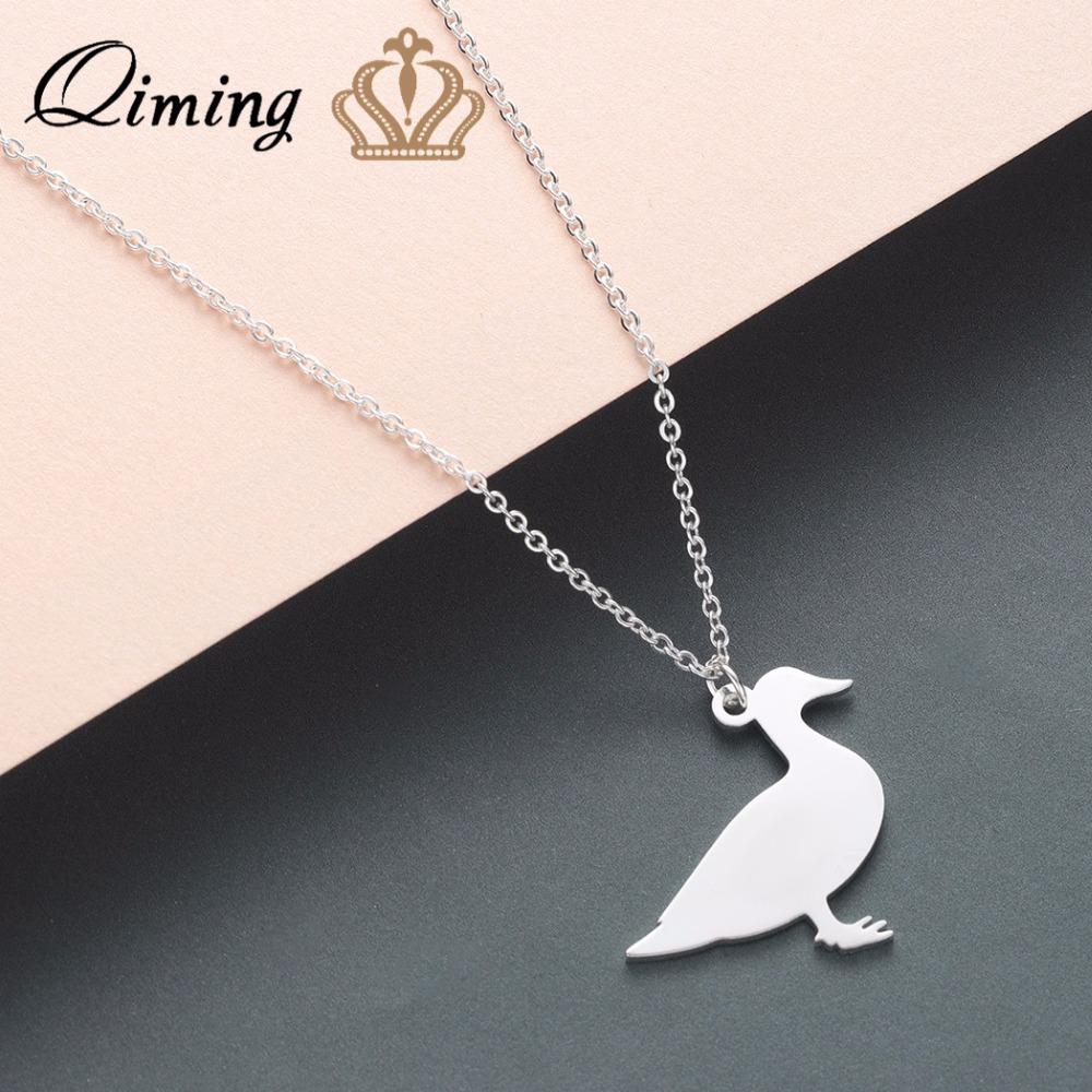 QIMING Lovely Animal Duck Necklace Baby Children Kids Cute Jewelry Animal Silver Gold Fashion Necklaces Best Gift image