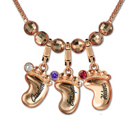 Women's Personalized 3D Baby Feet Necklace Custom Engraved Name Birthstone Necklaces Rose Gold Chain for Mom Collier Ras Du Cou