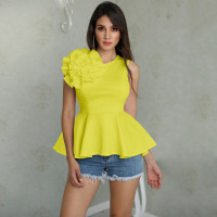 2019 New Fashion Summer Women Solid Casual Elegant Shirt Flower Applique Zipper Back Peplum Top Tee