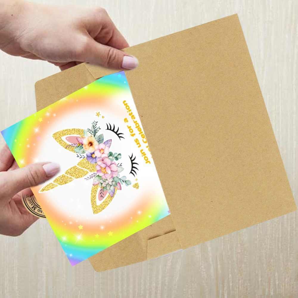 Nuestra Cálida 10 Uds Tarjetas De Invitación Unicornio Fiesta De Cumpleaños Unicornio Para Niños Baby Shower 1 Er Cumpleaños Fiesta Invitaciones