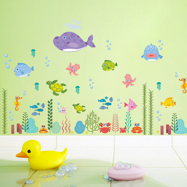 Underwater World Wall Stickers Cartoon Fish Dolphin Wall Art Decals ...