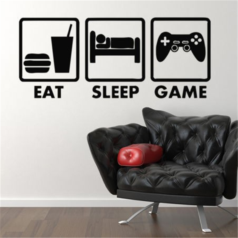 controller joystick para juegos de video juego xbox vinilo eat sleep home decor wall sticker vinilo