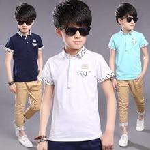 Top quality kids boy polo shirts school uniform shirt boys short sleeve cotton clothes for 5 6 7 8 9 10 11 12 years