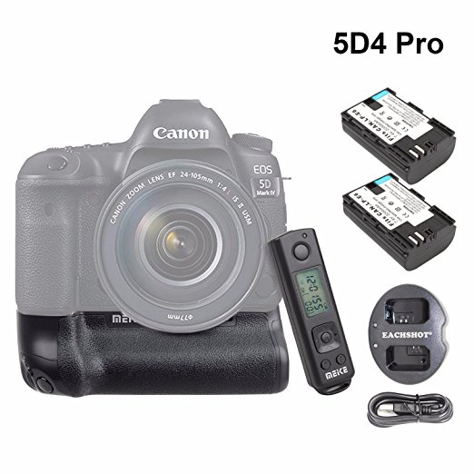 Meike MK-5D4 PRO Battery Grip With 2.4G Wireless Remote for Canon 5D Mark IV as Canon BG-E20 with LP-E6 Battery and Charger