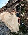 Dreagel Новая Модная Милая Шифон Отдел Сплит Пляж Свадебное Платье 2017 Нежные Аппликации Свадебное Платье Vestido де Noiva