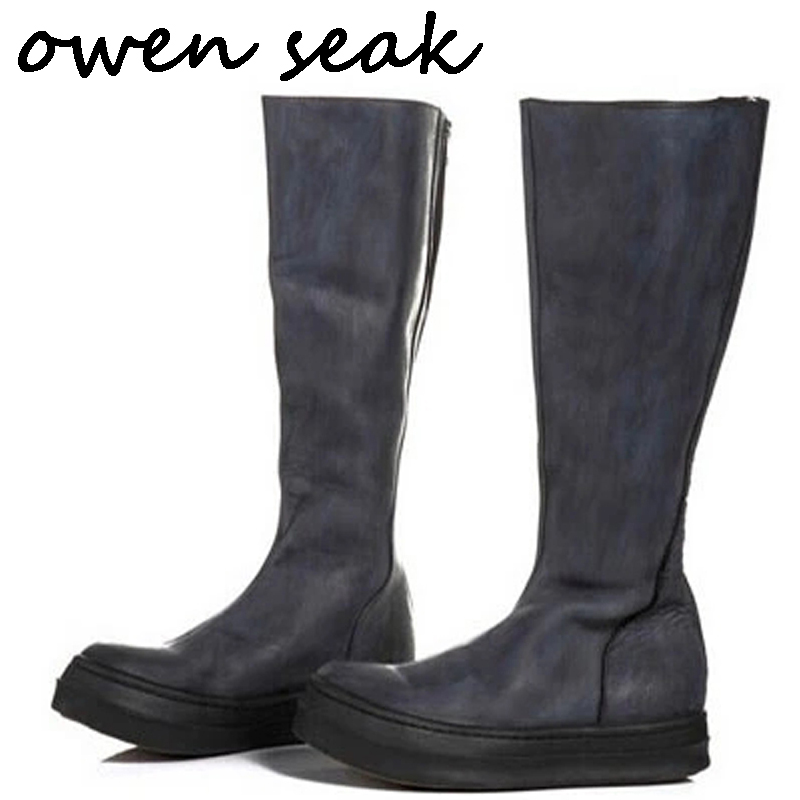 Owen Seak <font><b>Men</b></font> <font><b>Shoes</b></font> Knee High Boots Cow Leather Luxury Trainers <font><b>Winter</b></font> Snow Boots Casual Flats <font><b>Shoes</b></font> Black Big Size Sneakers image