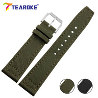 TEAROKE Genuine Leather Durable Canvas Nylon Watchband 20mm 21mm 22mm Army Green Design Square Tail Strap