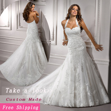 2019 Sexy Free Shipping White Sweetheat Halter Lace Wedding Dress Mermaid Court Train JK09