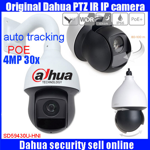 Original english Dahua auto tracking PTZ IP Camera 4Mp PTZ Full HD 30x Network IR PTZ Dome Camera SD59430U-HNI with POE DHL free dahua 4mp ptz full hd 30x network ir ptz