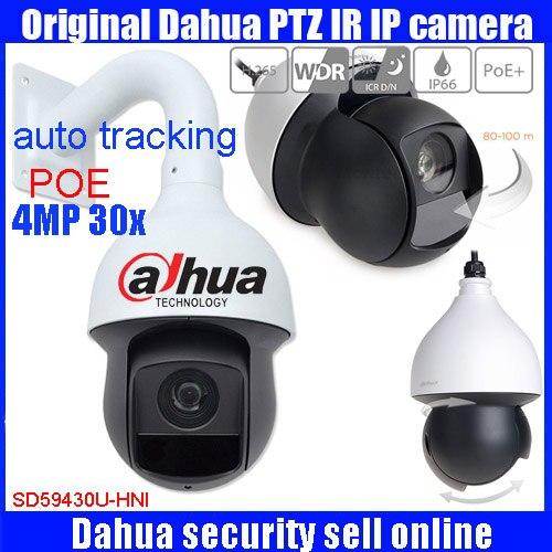 Original inglês 4Mp Dahua Câmera PTZ IP de rastreamento automático PTZ Full HD Rede IR Câmera Dome PTZ 30x SD59430U-HNI com POE DHL livre
