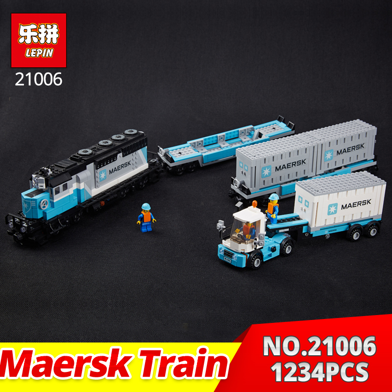 LepinTechnic series 21006 1234Pcs The Maersk Train Set Building Blocks Bricks Educational classic car style Funny kids Toy 10129 lepin 21006 compatible builder the maersk train 10219 building blocks policeman toys for children