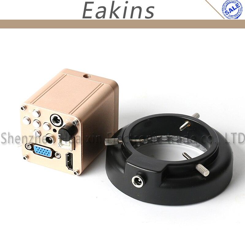 HD 1080P 40FPS COMS HDMI VGA USB Output Digital Industrial Video Microscope Camera + Adjustable LED Ring Light 60f s 1080p full hd hdmi industrial video microscope camera ir remote control for repair iphone pcb bga