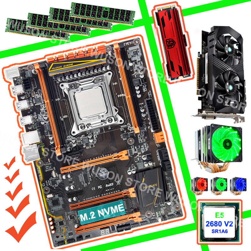 HUANAN ZHI X79 gaming PC bundle carte mère 240g NVME SSD GTX1050Ti 4g CPU Xeon E5 2680 V2 SR1A6 cooler RAM 4*8g DDR3 1600 RECC