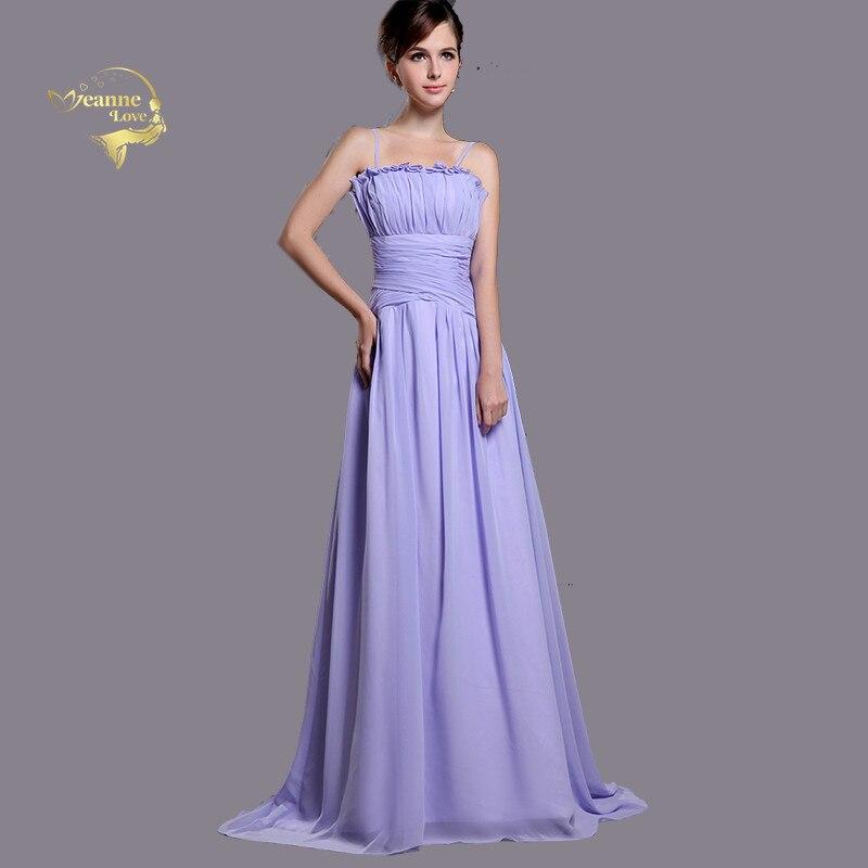Lavender Spaghetti Straps Chiffon Long   Bridesmaid     Dresses   A Line Vestido De Festa Longo Mariage Dinner Party   Dress   For Weddings