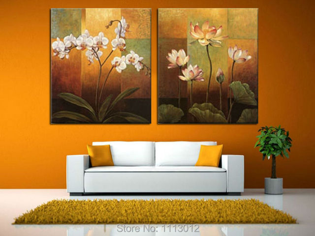 100 Hand Painted 2 Piece Set Decoration Floewr Lotus Oil Painting On Canvas Modern Home