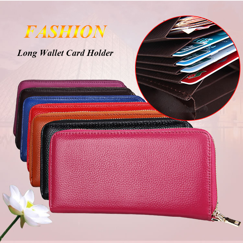 BONAMIE 50pcs Luxury RFID Women Clutch Wallet Genuine Leather Credit Card Holder Candy Color Lady Long Purse Wallets Coin Purse