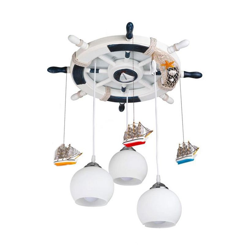 Mediterranean Retro Rudder Children's Room Pendent Lights Creative Kid's Room Lamp Fashion Bedroom Lamp Pendant Lamps a1 master bedroom living room lamp crystal pendant lights dining room lamp european style dual use fashion pendant lamps