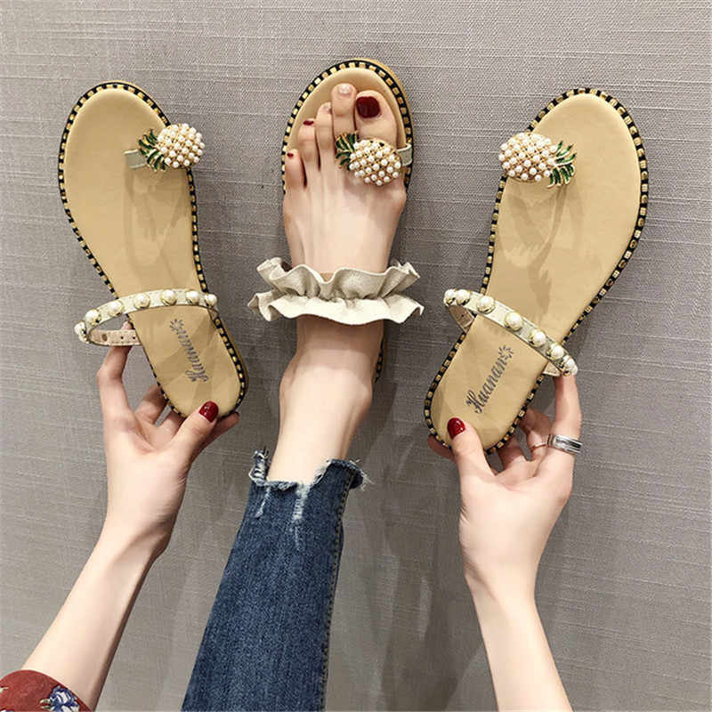 Women's Pineapple Decorative flip-flops 2019 New Harajuku Shoe Covers flat Sandals Women's Beach Slippers Outdoor Casual Shoes