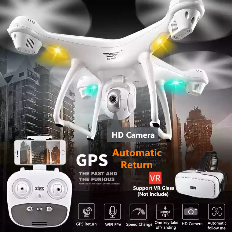 SJD S70W Dual GPS Follow Me WIFI FPV RC Drone Helicopter 400M 1080P Wide angle camera