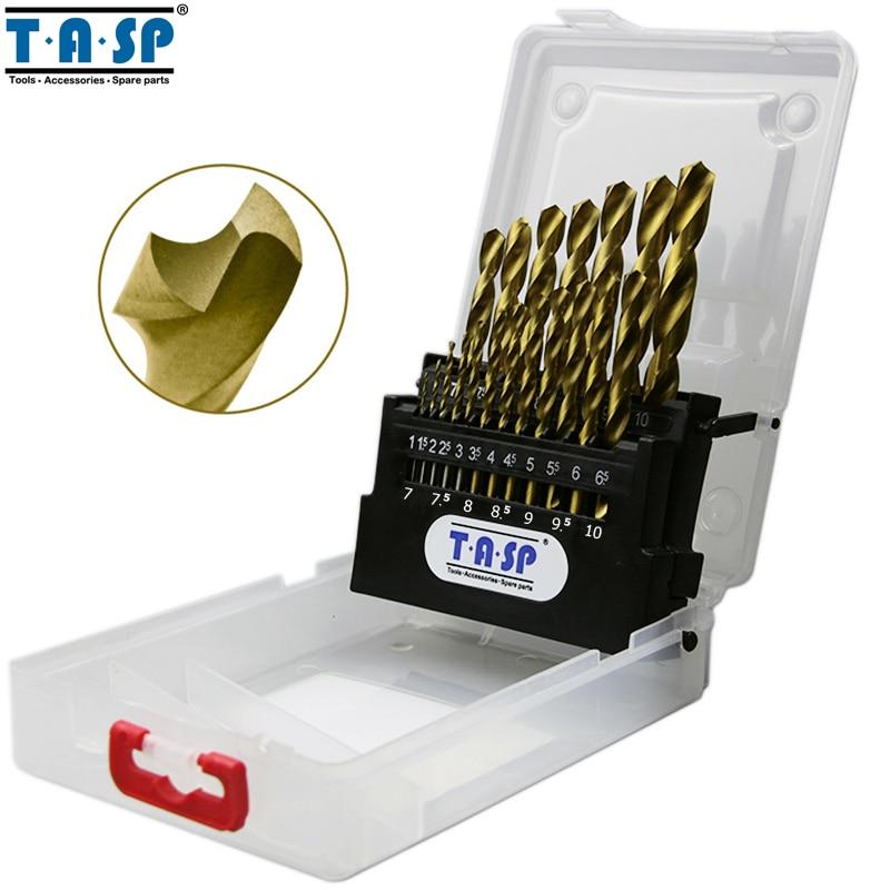 TASP 19pcs HSS Drill Bit Set For Metal & Wood 1.0~10mm Titanium Coated  With Storage Box Tools Accessories