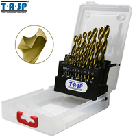 TASP 19 stücke HSS Bohrer Bit Set 1,0 ~ 10mm Titan Beschichtet für Metall & Holz mit Lagerung Box werkzeuge Zubehör