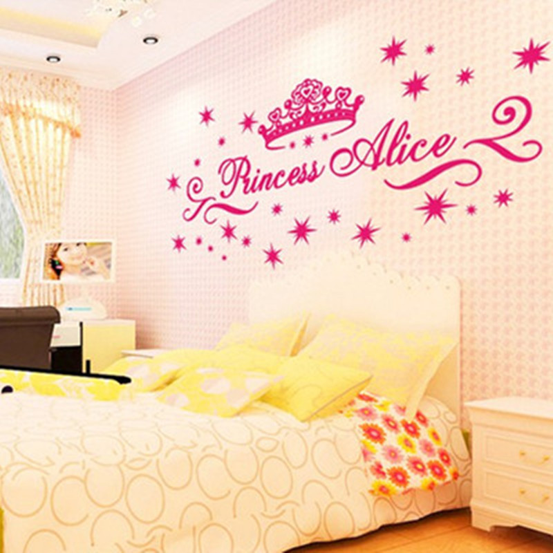 Custom name princess wall stickers pink Crown & Stars 3d diy vinyl ...