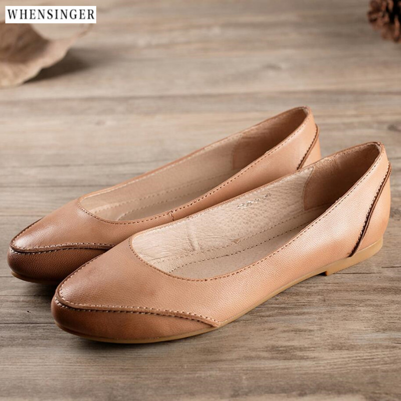 Whensinger -2018 Genuine Leather Women's Flat Shoes Casual Loafers Slip On Pointed Flats Soft Moccasins Lady Driving Women Shoes cresfimix women cute spring summer slip on flat shoes with pearl female casual street flats lady fashion pointed toe shoes