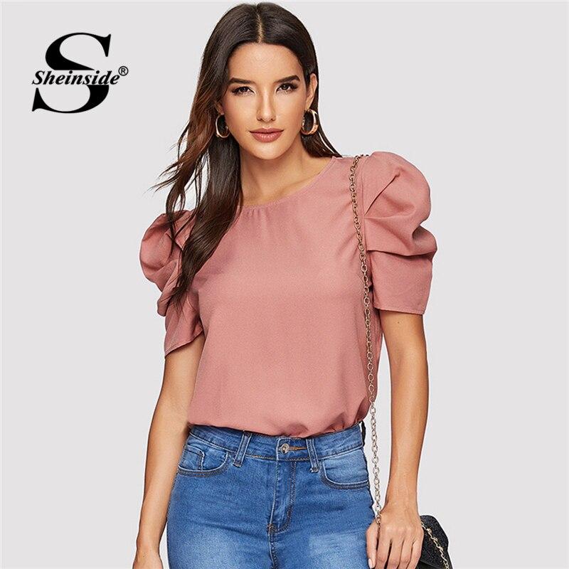 5658f33b7f0 Sheinside Элегантный Замочная скважина Назад с пышными рукавами Блузка  однотонный топ летние блузки для женщин 2019 розовый короткий рукав женск.