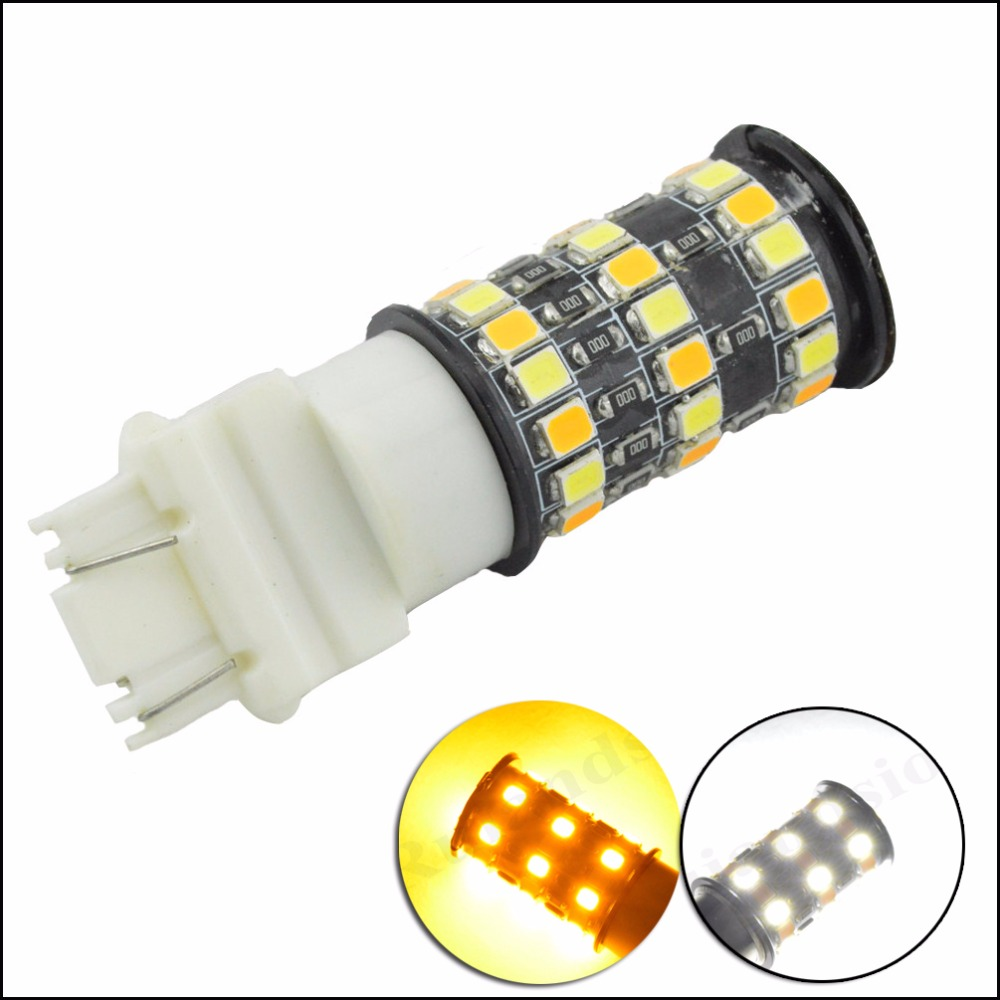 2 pcs 2835 42smd 1157 3157 Switchback LED dual color Bulb Front Turn Signal Light Amber White for both non-CK style 12V 24V