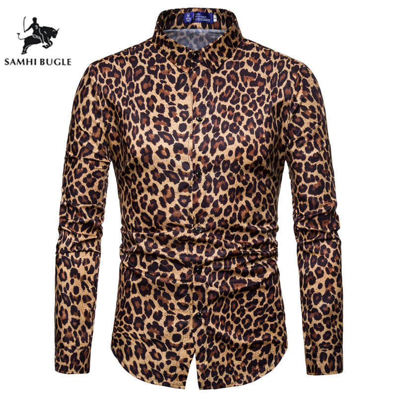Mens Trend Nightclub Leopard Print Shirt High Quality Long Sleeve Shirt Male Social Casual Party Shirt Chemise Homme Dress Shirt