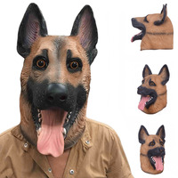 Scary Wolf Dog Latex Mask Breathable Novelty Full Face Head Mask Halloween Masquerade Mask Fancy Dress Festival Party Decoration