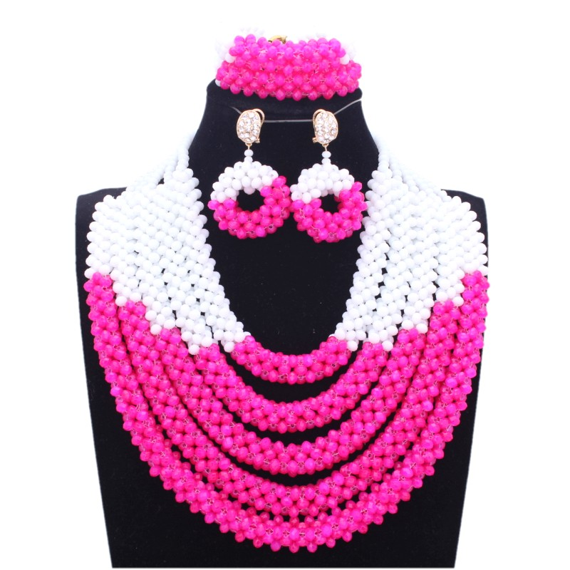 Jewellery Sets For Women African Hot Pink & White Wedding Beads Jewelry Set Dubai Nigerian Bridal Necklace Set For Women Brides stonefans rosered dubai jewelry sets for women in nigerian wedding set prom necklace rhinestone necklace and earing sets wedding