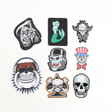 New Skull  Mermaid series embroidered Iron On Patches garment bag hat shoe phone Appliques accessory diy