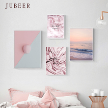 Nordic Ins Pink Feather Canvas Art Landscape Bedroom Bedside Poster and Print Living Room Beach Decoration Painting