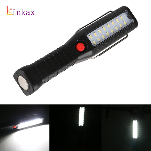 16 Led Rechargeable Work Light Magnetic Flashlight Torch Hook Lantern For Camping Hanging Tent Lamp Built In Battery