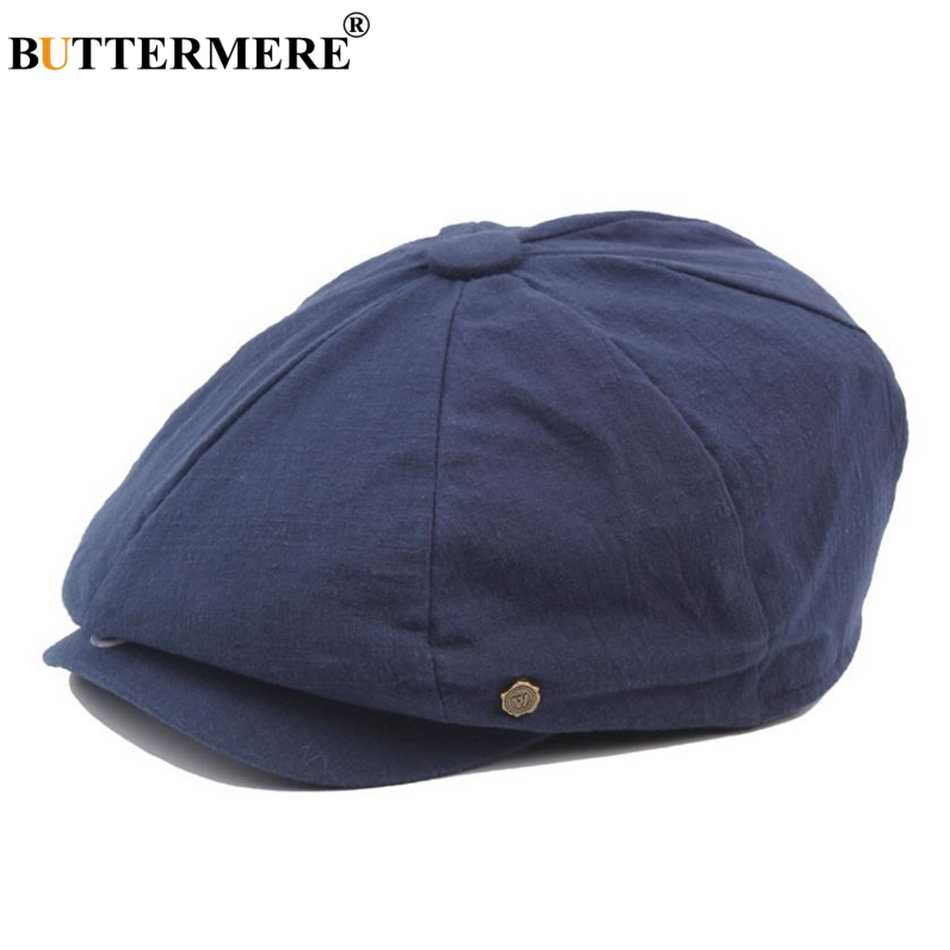 23bbd4e5cc5 BUTTERMERE Cotton Newsboy Cap Men Women Octagonal Hat Navy Solid Spring  Vintage Newspaper Caps 2019 New
