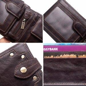 Image 5 - GZCZ nowy 100% prawdziwej skóry portfel mężczyźni męska portmonetka Portomonee zacisk na pieniądze na kieszeń na suwak posiadacz karty Hasp portfel