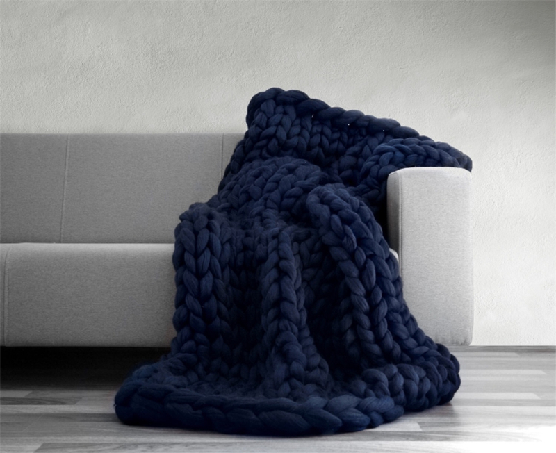 Merino Wool Chunky Knitted Throw Blanket - Bed & Bath