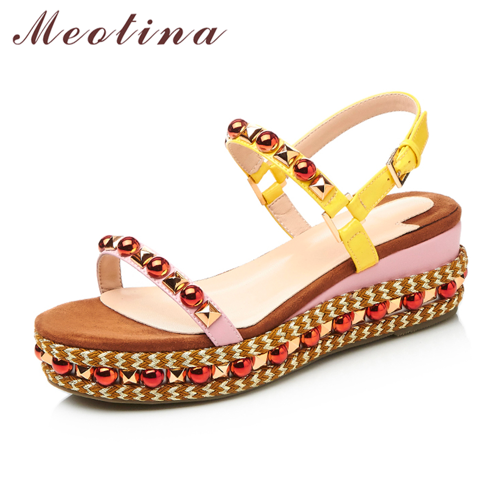 Meotina Women Sandals Summer Genuine Leather Shoes Platform Sandals Platform Wedges Beading Party Shoes Rivets Sandals Yellow