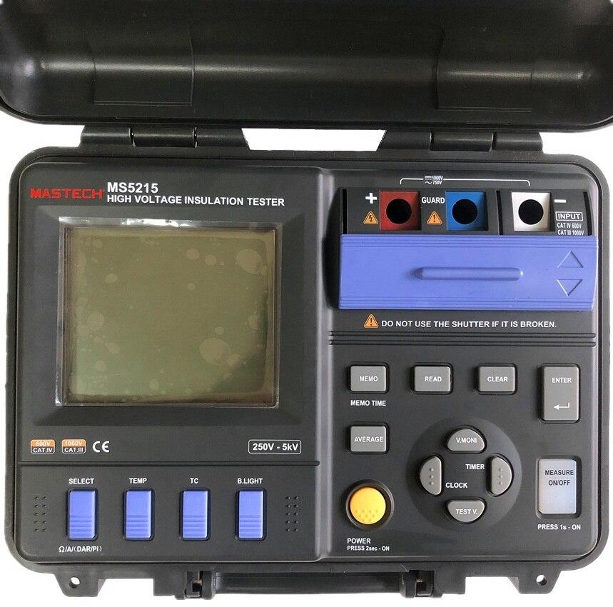 MASTECH MS5215 testeur de résistance d'isolation numérique haute tension Megometro Megger 5000 V 3mA, Temp (-10-70C)