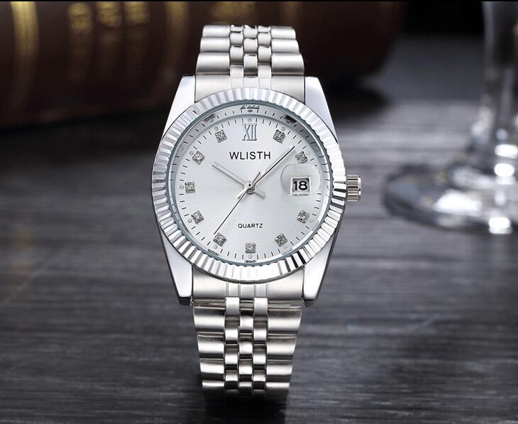 WLISTH роскошные золотые часы для женщин и мужчин, для влюбленных, нержавеющая сталь, Кварцевые водонепроницаемые мужские наручные часы для мужчин, аналог Авто Дата clcok - Цвет: Full Silver For Man