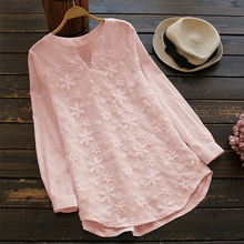 Women Sweet V-Neck Organza Long Shirts Oversized Tops Floral Embroidered Shirt Blouse White Lace Sleeve Pink