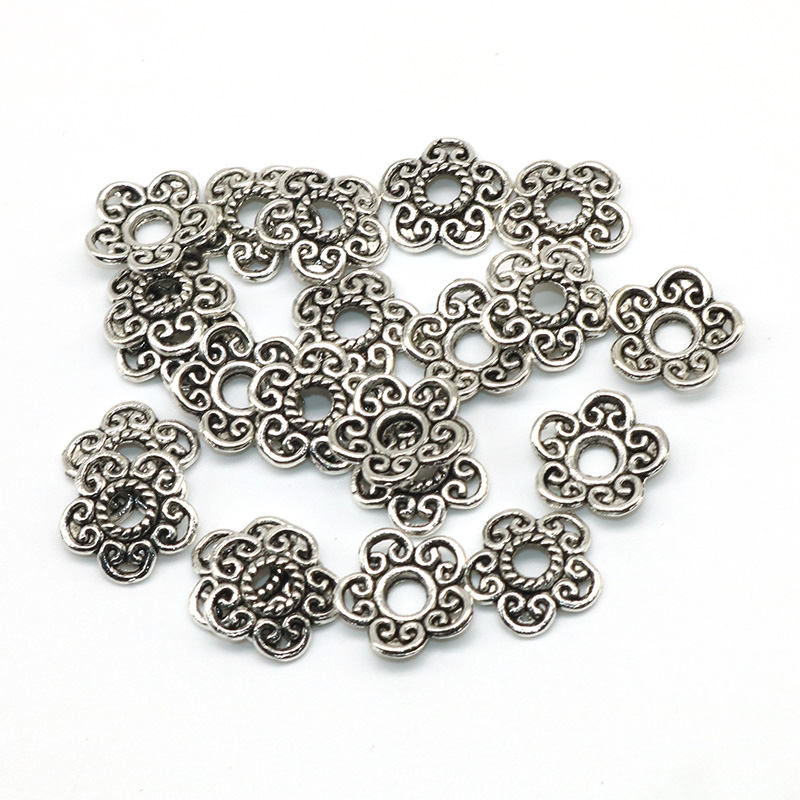 100pcs Tibetan Silver End Beads Caps Jewelry Findings Flower 11mm Wholesale